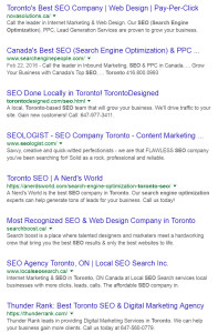 Search results on google for Vancouver SEO Company
